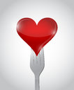 Fork and heart illustration design over a white background Stock Image