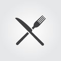 Fork and Knife Icon vector isolated on gray background.