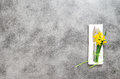 Fork knife napkin on table plate spring flowers Royalty Free Stock Photo
