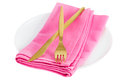 Fork with knife on pink napkin Royalty Free Stock Photo