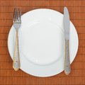 Fork and knife on a plate Stock Photography