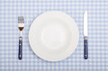 With fork knife and plate covered dinner table blue checkered cloth Royalty Free Stock Images