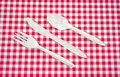 Fork knife and spoon on picnic tablecloth Royalty Free Stock Photos