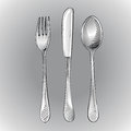 Fork knife and spoon vector illustration Stock Photos