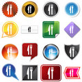 Fork Knife Variety Icon Set Stock Photo