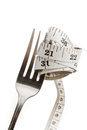 Fork and measuring tape diet concept for healthy lifestyle Stock Photo