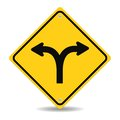 Fork in the road sign Royalty Free Stock Photo