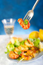 Fork with shrimp skew Royalty Free Stock Images