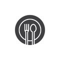 Fork, spoon, dish icon vector, filled flat sign, solid pictogram isolated on white.