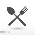 Fork and spoon - flat icon. Sign Food Royalty Free Stock Photo