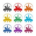 Fork spoon knife black icon, color set Royalty Free Stock Photo