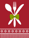 Fork, spoon and knife christmas background Royalty Free Stock Photo
