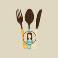 fork spoon and knife woman icon Royalty Free Stock Photo