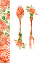 Fork and spoon. Silhouette of roses, watercolor Royalty Free Stock Photo