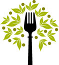 Fork tree logo illustration art of a with isolated background Stock Photo