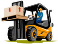 Forklift with driver Stock Images