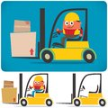 Forklift driver cartoon illustration of with and without no transparency and gradients used Royalty Free Stock Images