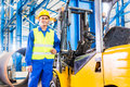Forklift driver standing in manufacturing plant Royalty Free Stock Photo