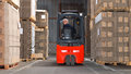 Forklift driving backwards Royalty Free Stock Photo