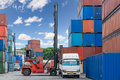 Forklift handling container box loading at docks with truck for Royalty Free Stock Photo