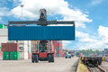 Forklift handling container box loading to freight train Royalty Free Stock Photo