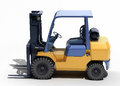 Forklift loader close up on a light background Stock Photos