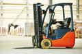 Forklift loader stacker truck at warehouse Royalty Free Stock Photo