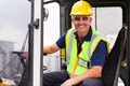 Forklift operator cheerful middle aged Stock Images