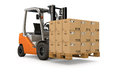 Forklift with pallet of packages lifting a many Stock Photos