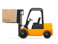 Forklift with pasteboard box Royalty Free Stock Photo