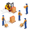 Forklift Truck With Delivery Workers on White Background, Vehicle Forklift Picks up a Box