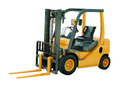 Forklift truck isolated modern on white background Royalty Free Stock Photo