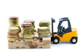Forklift truck lifting euro coins isolated on white Stock Image