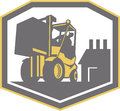 Forklift truck materials handling logistics retro illustration of a and driver at work lifting box crate with warehouse factory in Stock Image