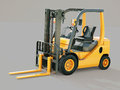 Forklift truck modern on gray background Royalty Free Stock Photo