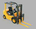 Forklift truck modern on gray background Royalty Free Stock Images