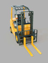 Forklift truck modern on gray background Stock Photos