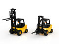 Forklift two on white background Royalty Free Stock Images