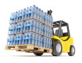 Forklift with water pet bottles on the pallet d illustration Royalty Free Stock Photography