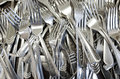 Forks many silver of different designs Stock Photo