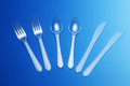 Forks spoons and knives a set of Royalty Free Stock Photo