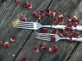 Forks. A tableware. An old wooden table. Royalty Free Stock Photo