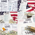 Form 1040 IRS income tax american flag drugs money collage Royalty Free Stock Photo