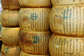 Form of parmesan cheese is a variety inspired by parmigiano reggiano from parma italy its color is pale yellow and it is Royalty Free Stock Photography