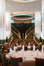Formal Dining Tables on a Luxury Cruise Ship Royalty Free Stock Photo