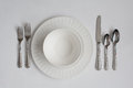 Formal Dinner Place Setting Utensils and Dishes Royalty Free Stock Photo