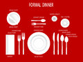 Formal dinner place settings. Dinner table set. Set for food and drink. Dinner set with text labels. Dishware