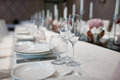 Formal dinner service at a banquet Royalty Free Stock Photo