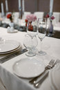 Formal dinner service at a wedding banquet Royalty Free Stock Photo