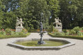 Formal garden with fountain Royalty Free Stock Photo